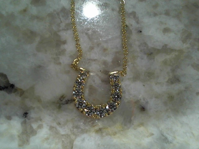 Diamond Necklace 10 Diamonds .50 Carat T.W. 18K Yellow Gold 3.7g