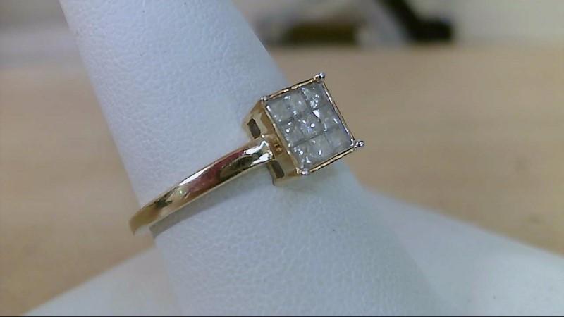 Lady's Diamond Engagement Ring 9 Diamonds .63 Carat T.W. 10K Yellow Gold 2.45g