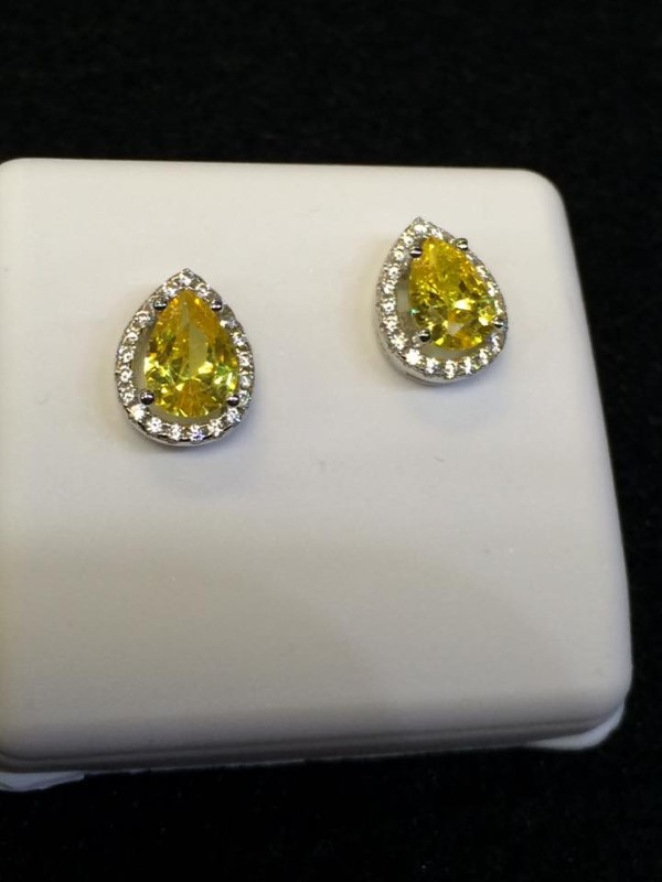Yellow Stone Silver-Stone Earrings 925 Silver 1.6g
