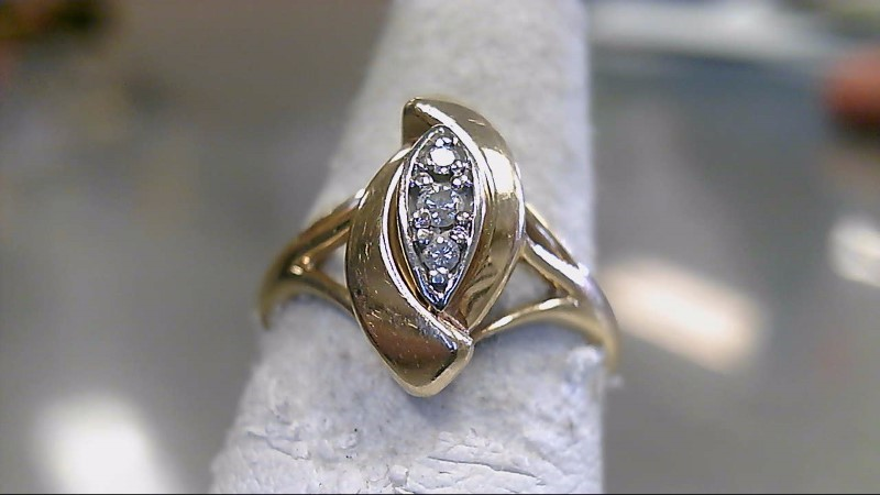 Lady's Diamond Fashion Ring 3 Diamonds .03 Carat T.W. 14K Yellow Gold 4g