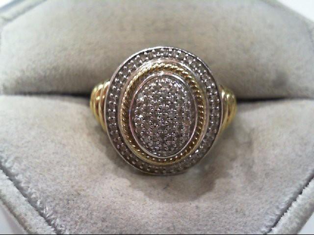 Lady's Silver-Diamond Ring 91 Diamonds .455 Carat T.W. 925 Silver 5.3g