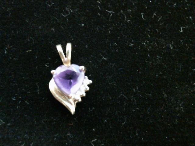 Purple Stone Gold-Diamond & Stone Pendant 4 Diamonds .04 Carat T.W.