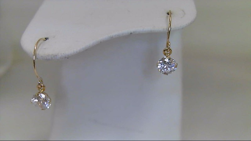 Synthetic Cubic Zirconia Gold-Stone Earrings 10K Yellow Gold 0.6g