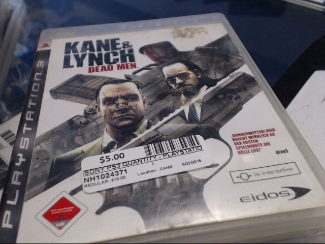 SONY PS3 KANE & LYNCH DEAD MEN