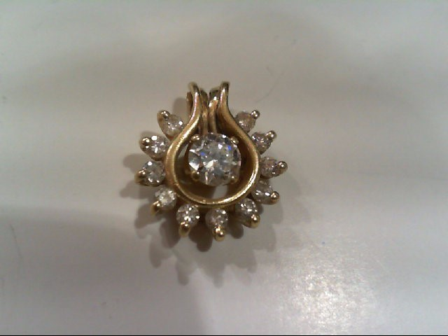 Gold-Multi-Diamond Pendant 12 Diamonds .58 Carat T.W. 14K Yellow Gold 1.4g