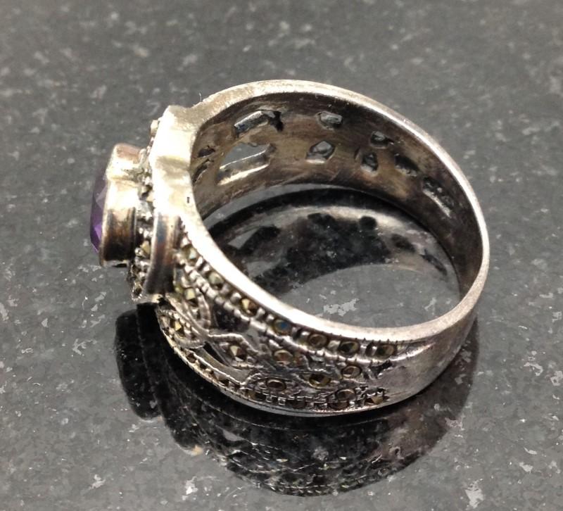 Lady's Sterling Silver Purple Stone & Marcasite Heart Ring Size 9