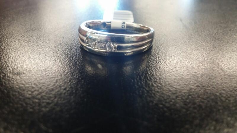 Gent's Gold-Diamond Wedding Band 3 Diamonds .06 Carat T.W. 10K White Gold