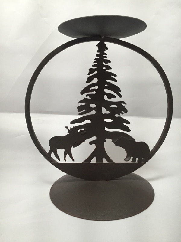 RUSTIC WOODLAND MOOSE BEAR PINE TREE CANDLE HOLDER