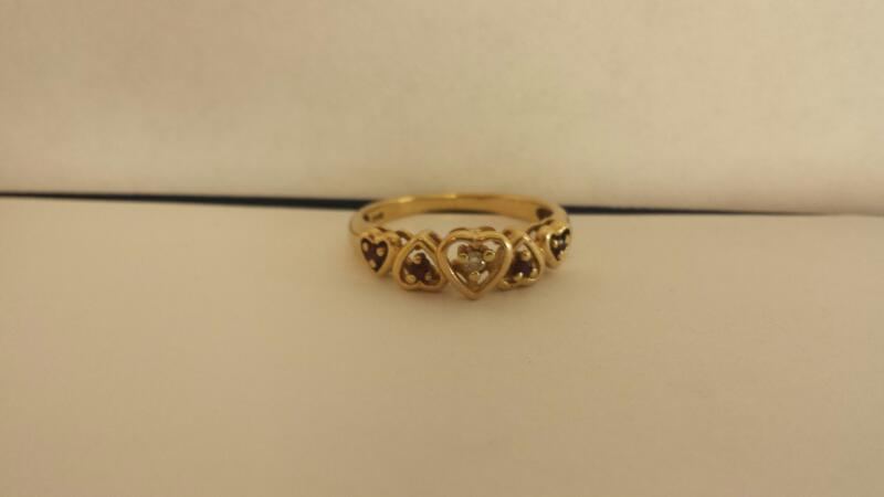 Lady's Stone & Diamond Ring .01 CT. 14K Yellow Gold 2dwt Size:7