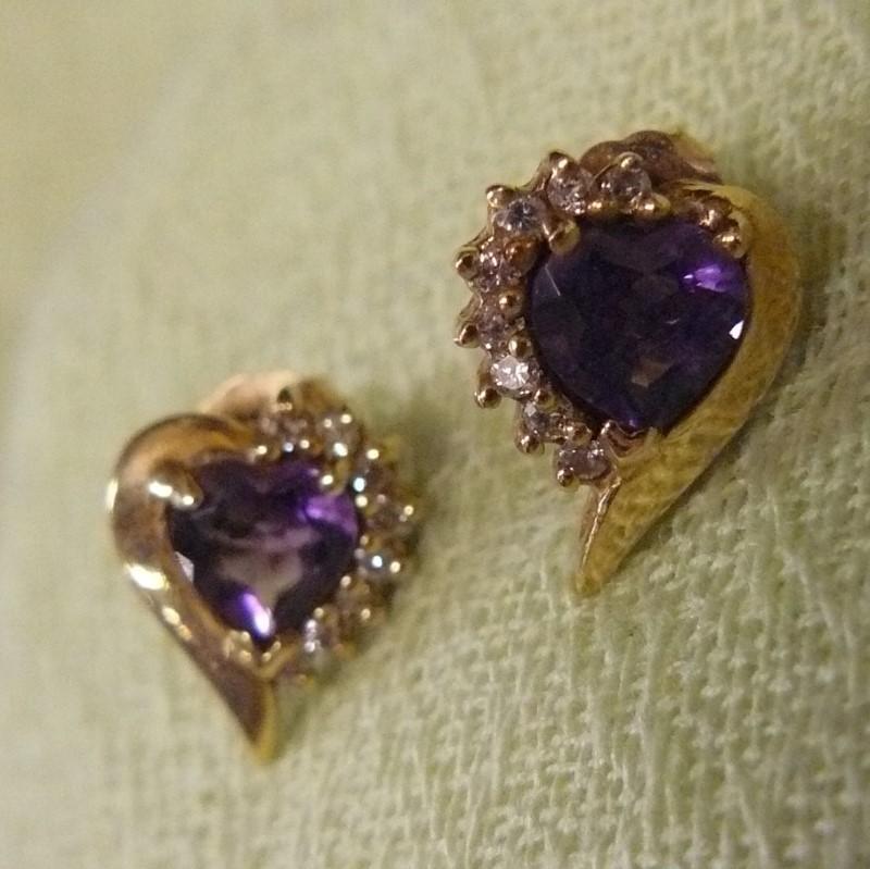 Amethyst Gold-Diamond & Stone Earrings 16 Diamonds .16 Carat T.W.