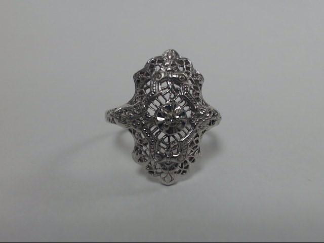 10K White Gold Single Round Brilliant Cut Diamond Floral Filagree Ring Size 6