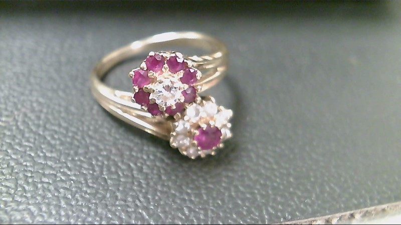 Ruby Lady's Stone & Diamond Ring 9 Diamonds .29 Carat T.W. 10K Yellow Gold 4.6g
