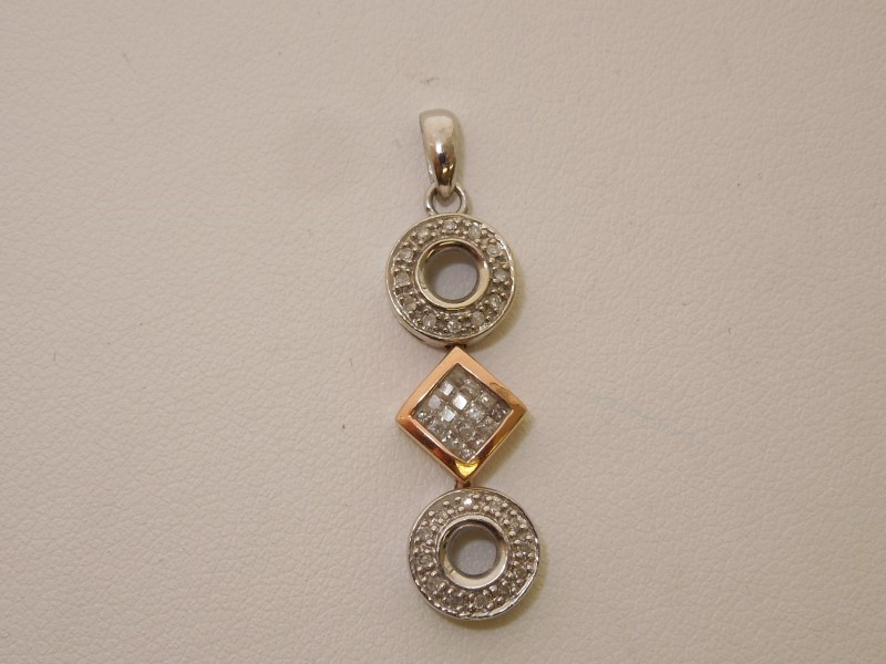 Gold-Multi-Diamond Pendant 40 Diamonds .40 Carat T.W. 10K 2 Tone Gold 1.7g