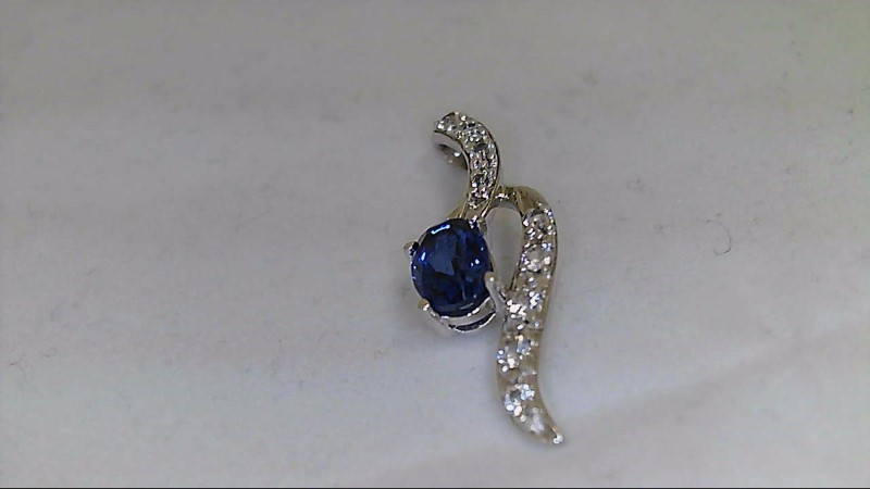 Synthetic Sapphire Silver-Stone Pendant 925 Silver 1.96g