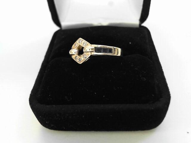 Synthetic Sapphire Lady's Stone & Diamond Ring 6 Diamonds .12 Carat T.W.