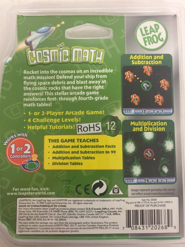 Leap Frog Leapster Cosmic Math, 1st - 4th grade, age 6-10