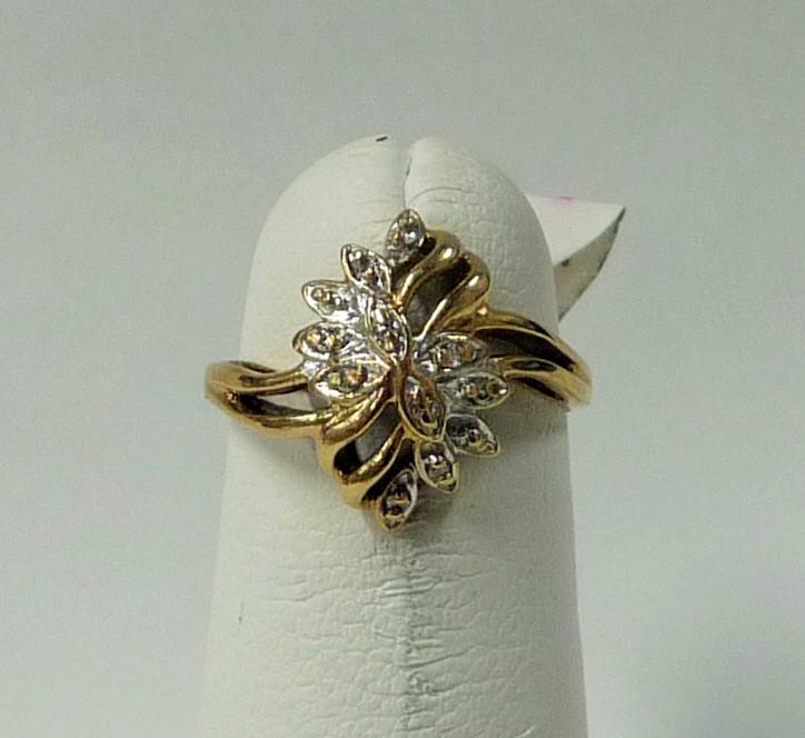 Lady's Diamond Fashion Ring 12 Diamonds .12 Carat T.W. 10K 2 Tone Gold 1.18dwt