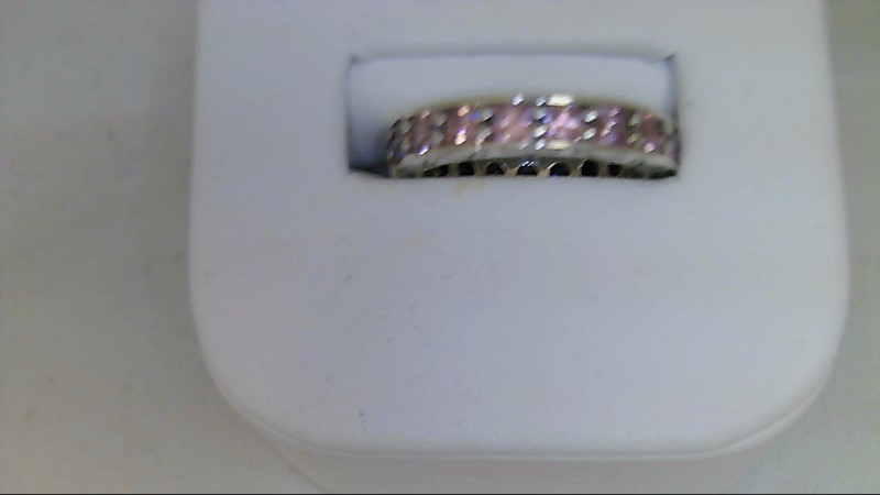 lady's sterling silver 925 pink stone eternity sz 7 ring