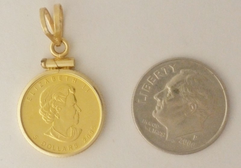 2005 $5 Canada 1/10 oz Maple Leaf .9999 Fine Gold Cold in 14K Bezel Pendant