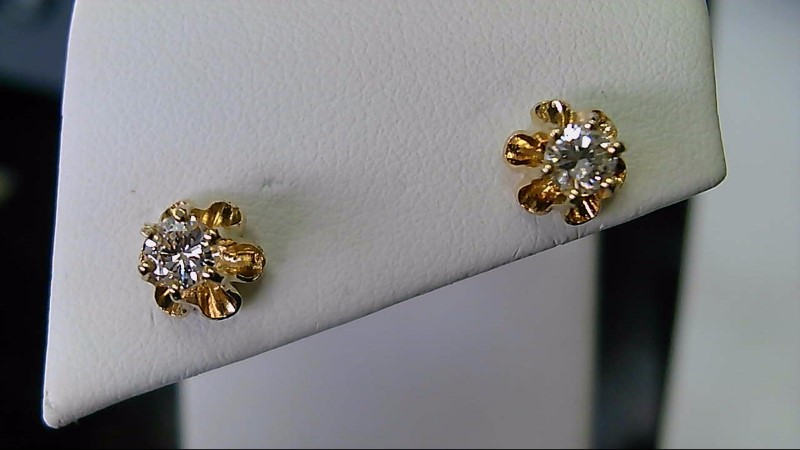 lady's 14k yellow gold 1/2cttw round diamond stud earrings