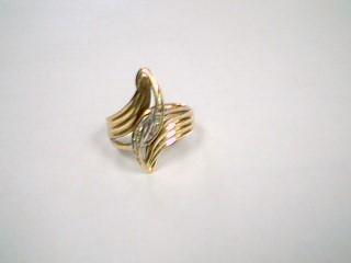 Lady's Gold-Diamond Anniversary Ring 5 Diamonds .05 Carat T.W. 10K 2 Tone Gold