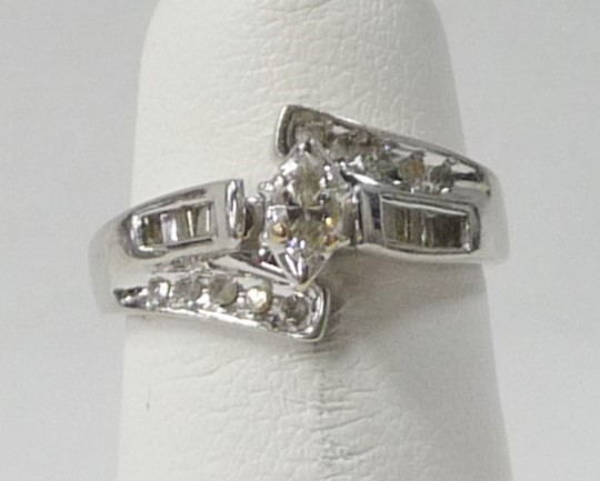 Lady's Diamond Engagement Ring 23 Diamonds .91 Carat T.W. 10K White Gold