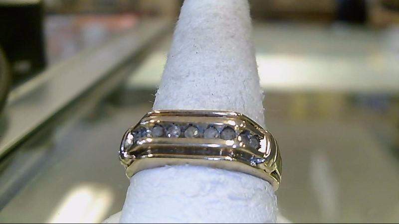 Gent's Diamond Fashion Ring 9 Diamonds .09 Carat T.W. 10K Yellow Gold 3.6g