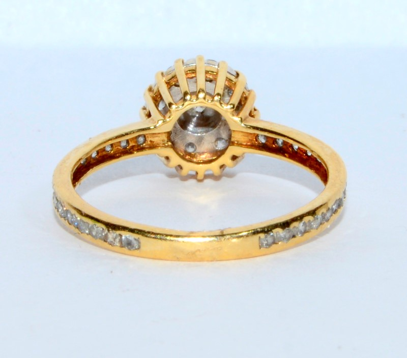 14K Yellow Gold Floral Vintage Inspired Diamond Cluster Ring sz 6.25