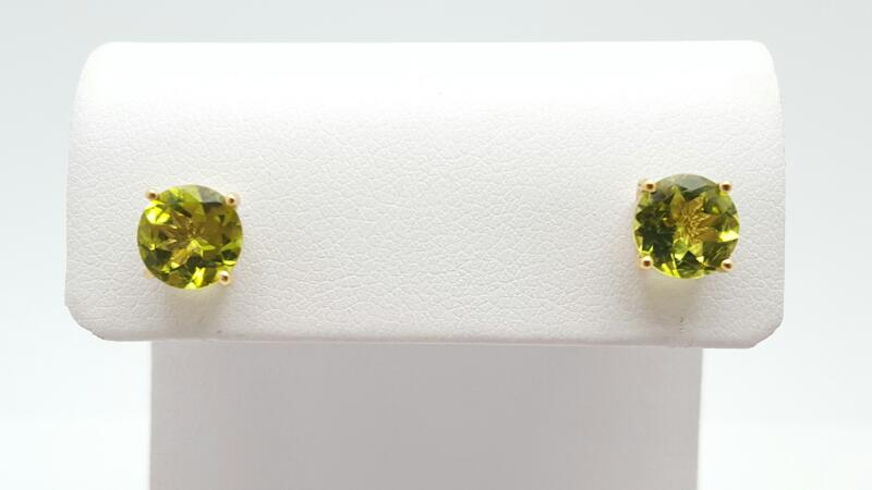 Peridot Gold-Stone Earrings 14K Yellow Gold 1.8g