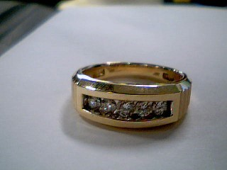 Gent's Gold-Diamond Wedding Band 5 Diamonds .67 Carat T.W. 10K Yellow Gold