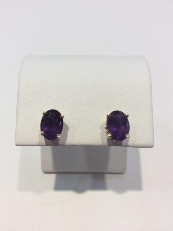 Amethyst Gold-Stone Earrings 14K Yellow Gold 1.8g