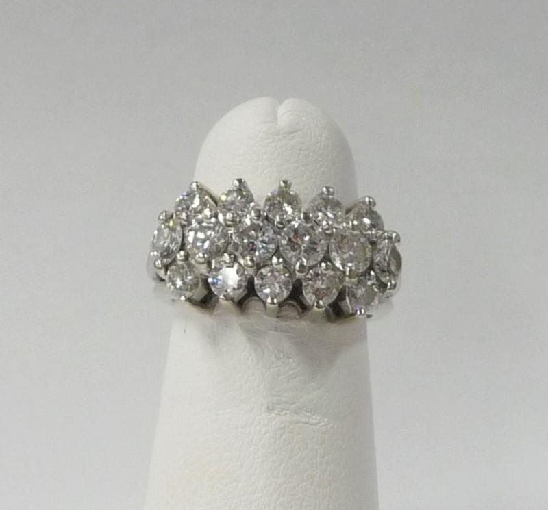 Lady's Diamond Fashion Ring 16 Diamonds 2.40 Carat T.W. 14K White Gold 4.17dwt