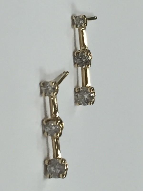 Gold-Diamond Earrings 6 Diamonds .50 Carat T.W. 14K Yellow Gold 1.11g