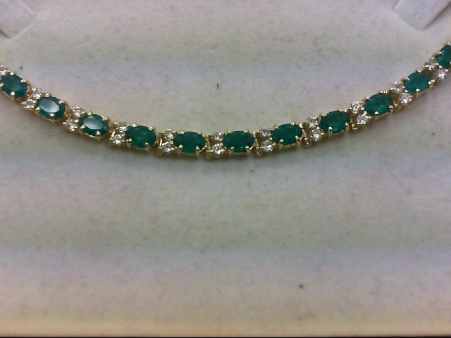 Emerald Gold-Diamond & Stone Bracelet 32 Diamonds 2.00 Carat T.W.