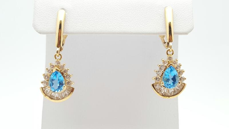 Blue Topaz Gold-Stone Earrings 14K Yellow Gold 3.9g