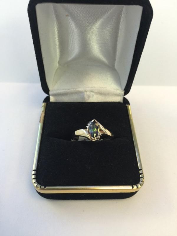 Synthetic Alexandrite Lady's Stone & Diamond Ring .05 CT. 10K Yellow Gold