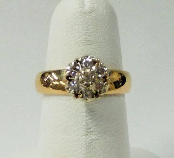 Lady's Diamond Cluster Ring 7 Diamonds .49 Carat T.W. 14K Yellow Gold 2.68dwt