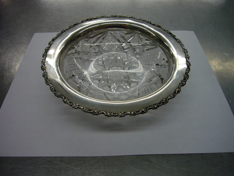SHREVE & CO Glassware STERLING & CRYSTAL DISH