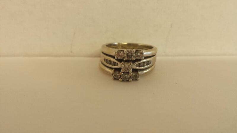 Lds 14K- WG Diamond Wedding Set .86 Cttw Size 5.5