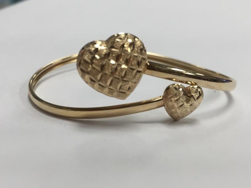 INTERLOCKED HEARTS BANGLE BRACELET 10K YELLOW GOLD PERFECT FOR VALENTINE'S DAY