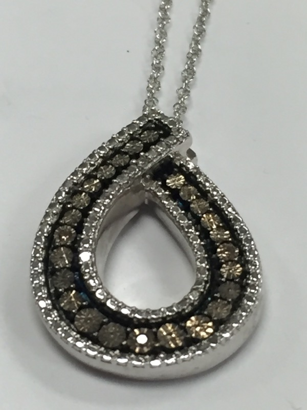 "BROWN DIAMOND AND SILVER PENDANT ON A 18"" SILVER CHAIN"