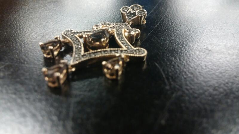 Brown Stone Gold-Stone Pendant 14K Yellow Gold 3dwt