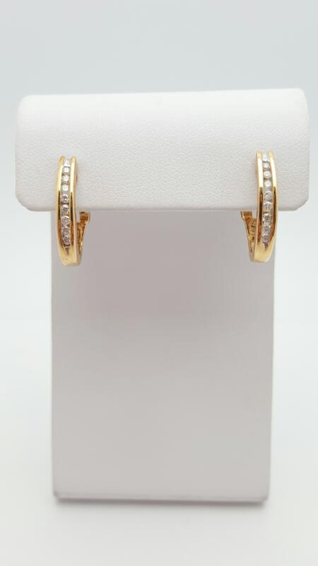 Gold-Diamond Earrings 16 Diamonds .16 Carat T.W. 14K Yellow Gold 3.9g