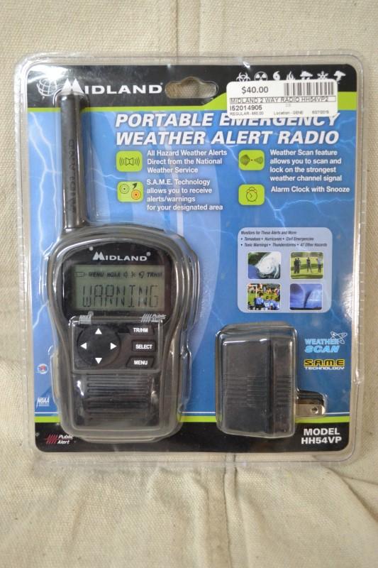 PORTABLE EMERGENCY WEATHER ALERT RADIO HH54VP