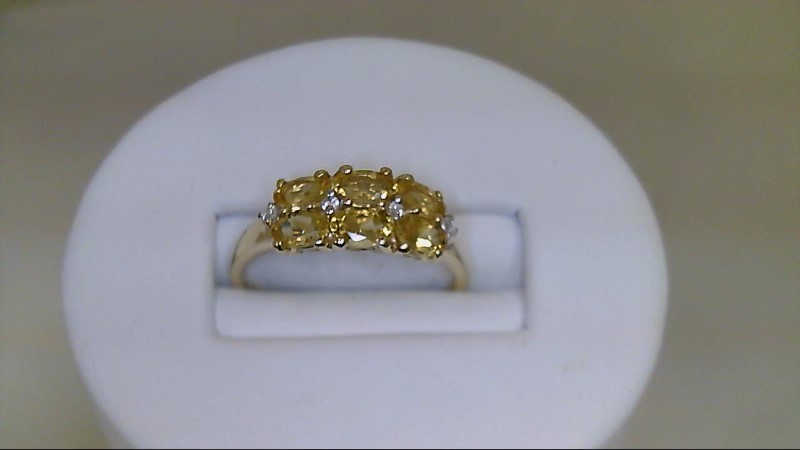 Synthetic Citrine Lady's Stone & Diamond Ring 4 Diamonds .04 Carat T.W.
