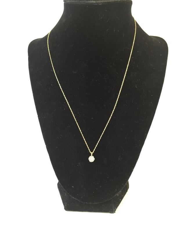 "18"" Diamond Necklace 7 Diamonds .14 Carat T.W. 10K Yellow Gold 0.7dwt"