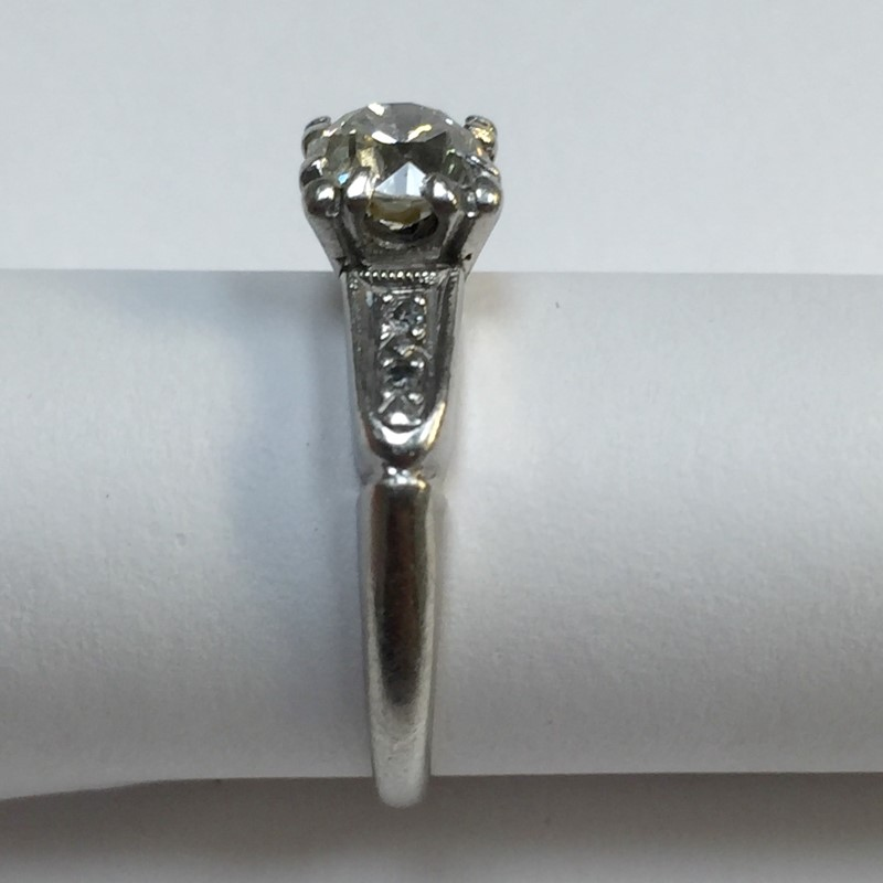 Lady's Platinum-Diamond Solitaire 5 Diamonds .79 Carat T.W. 900 Platinum 2.6dwt