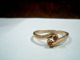 Synthetic Ruby Lady's Stone Ring 10K Yellow Gold 1.7g Size:8.5