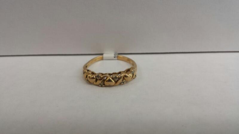 10k Yellow Gold Ring with Hearts and 8 Diamond Chips