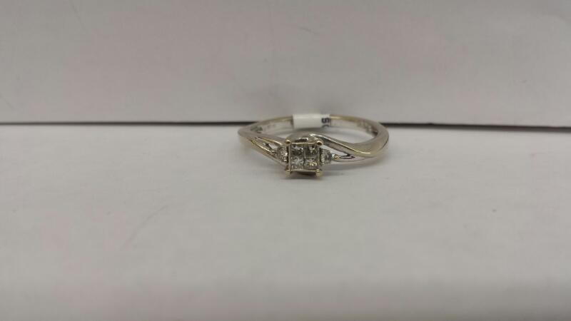 10k White Gold RIng with 4 Princess Cut Diamonds and 2 Diamond Chips